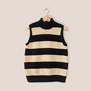 VTG striped high neck cotton knit sleeveless top